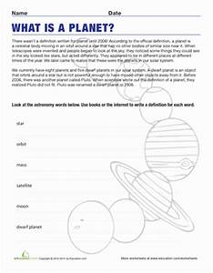 Definition of a Planet | Worksheet | Education.com