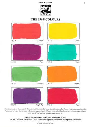 60s colors papers and paints 1960s colours 1 paint palettes