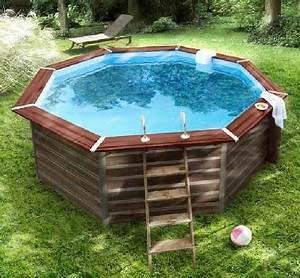 Deco Piscine Hors Sol : piscine hors sol bois teint forme octogonale castorama ~ Melissatoandfro.com Idées de Décoration