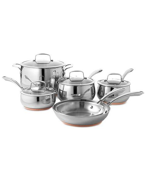 belgique copper bottom  pc cookware set created  macys reviews cookware sets macys