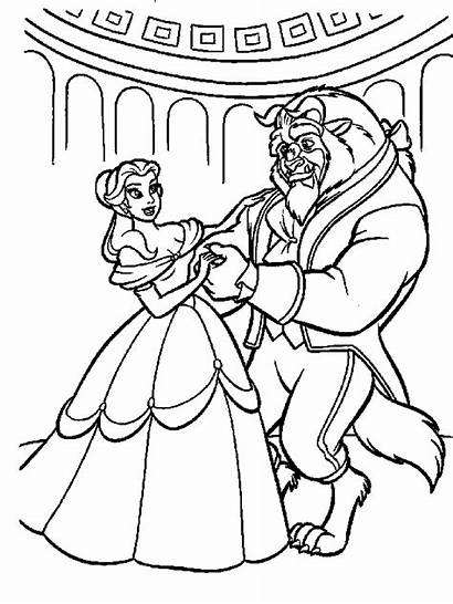 Coloring Disney Princess Pages Belle Beast Beauty