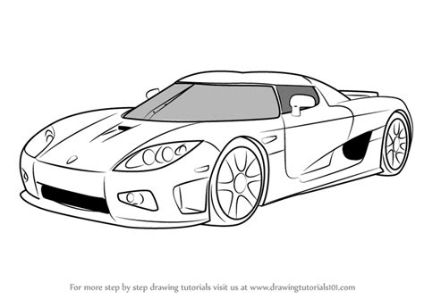 koenigsegg car drawing learn how to draw koenigsegg ccx sports cars step by