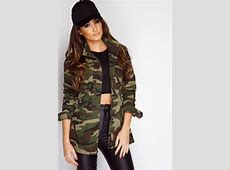 Megan McKenna Khaki Camouflage Military Jacket at misspap