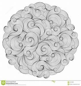 Black And White Circle Wave Ornament, Ornamental Round ...