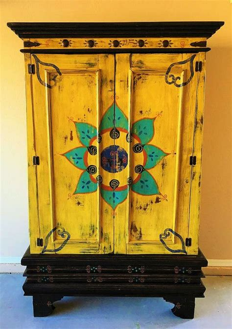 Painted Kitchen Furniture by Sold Beautiful Painted Mexican Cabinet Beautiful