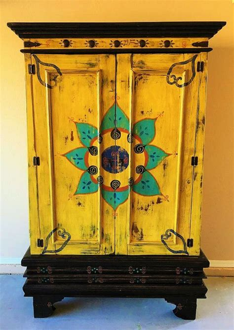 SOLD Beautiful Hand Painted Mexican Cabinet   Beautiful