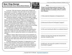 dear king george accelerated reader reading comprehension worksheets comprehension