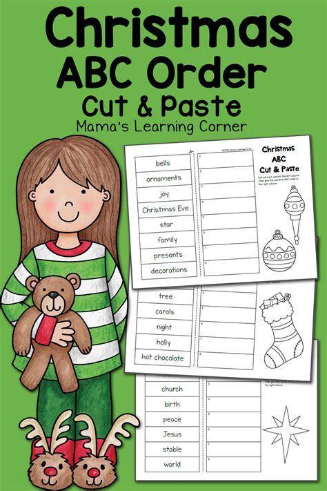 christmas abc order worksheets cut  paste mamas