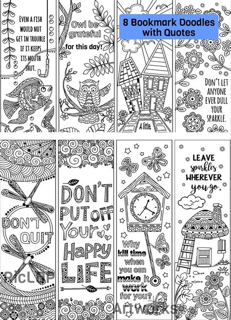 coloring bookmarks  quotes ricldp artworks