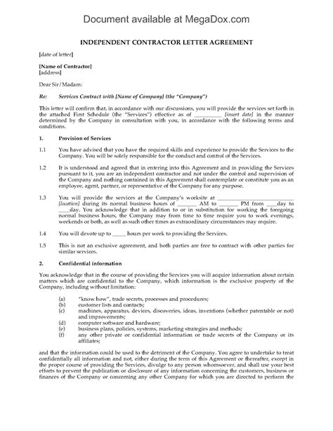 UK Independent Contractor Agreement Form | Legal Forms and Business Templates | MegaDox.com