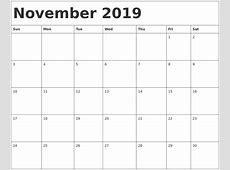 November 2019 Calendar Template calendar for 2019