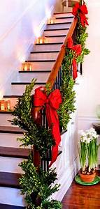 staircase Christmas garland at the cabin in Blairsville Ga