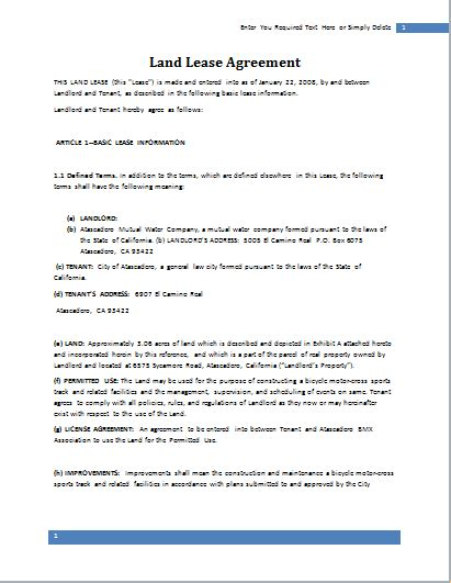 land lease agreement template  word document hub