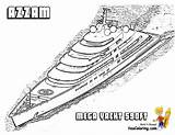 Yacht Coloring Pages Azzam Super Ship Boat Printable Superyacht Boys Boats Motor Yachts Cool Template Yescoloring Ft Sheets Ships sketch template