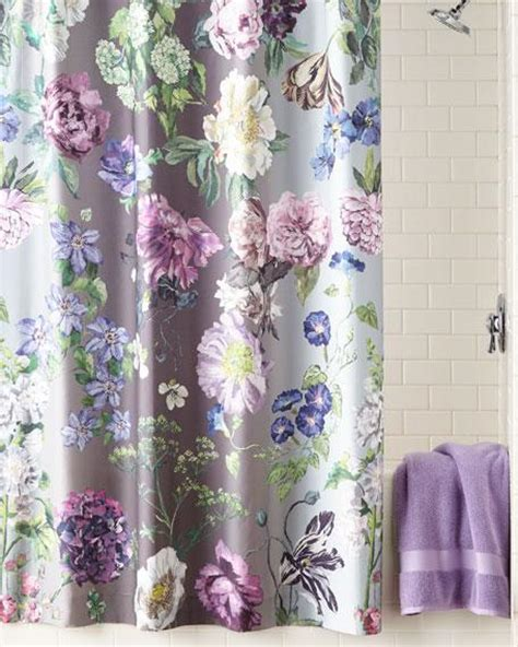 watercolor nude  gray floral shower curtain