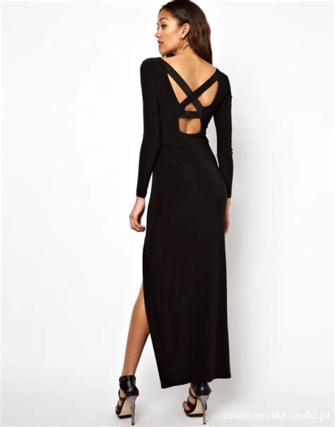 river island czarna maxi sukienka gołe plecy 34 xs w