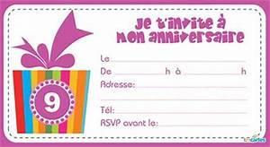 Invitation Anniversaire Fille 9 Ans : carte invitation anniversaire fille 9 ans ~ Melissatoandfro.com Idées de Décoration