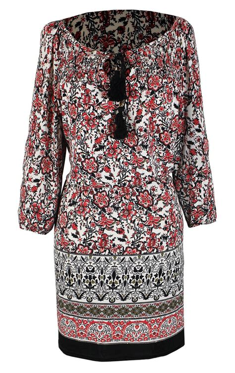 bohemian floral pattern sleeve coral midi dress with