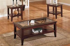 coffee table and end tables set with brown veneer frame With glass coffee table and end tables set