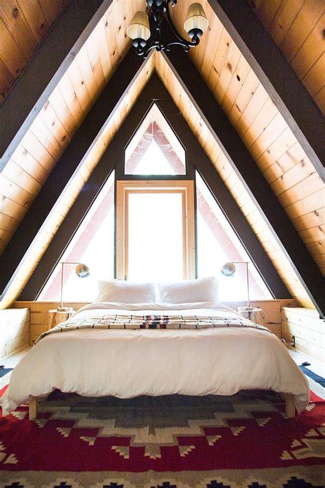 modern rustic  frame cabin front main bed upstairs bedroom bedroom loft cabin loft