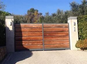 Portail En Bois Pas Cher : portail acier bois portail coulissant en aluminium pas ~ Melissatoandfro.com Idées de Décoration