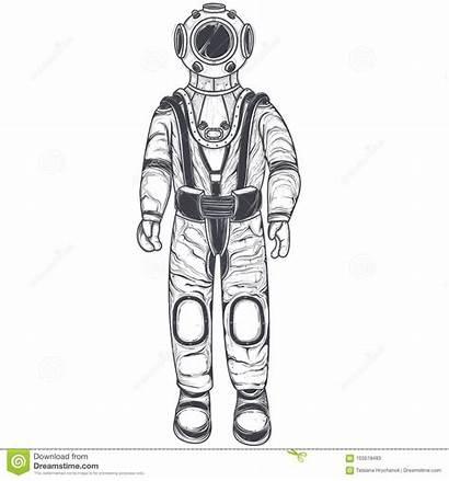 Space Suit Helmet Astronaut Cosmonaut Cartoon Concept