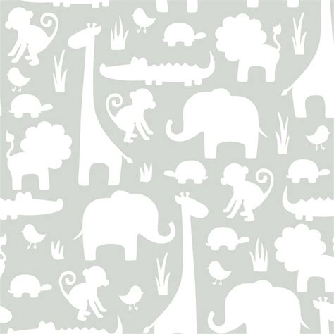 Animal Nursery Wallpaper - its a jungle peel stick wallpapers grey green