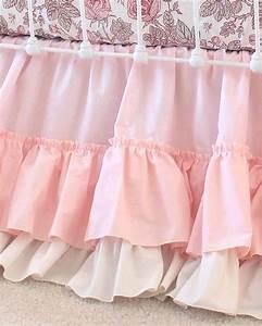 Blush, Pink, Farmhouse, Ruffle, Crib, Skirt