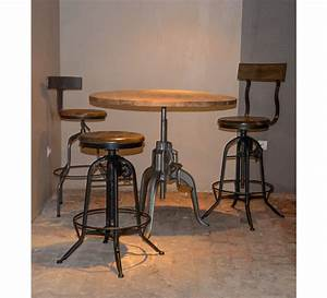 Table Ronde Haute : table bar industrielle a manivelle r glable atelier grey 39 6776 ~ Teatrodelosmanantiales.com Idées de Décoration
