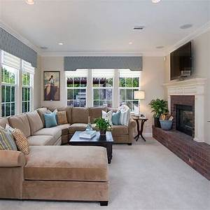 neutral living room with taupe sectional design ideas With taupe sectional sofa decorating ideas