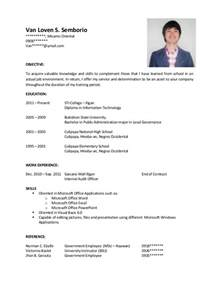 resume for college applications templates for resumes sle resume for ojt