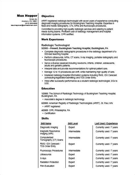 Radiologic Technologist Resume by Radiologic Technologist Skills Resume Vvengelbert Nl