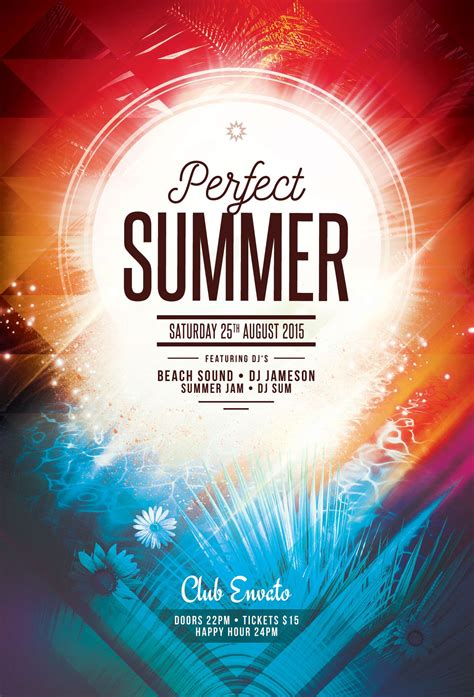 summer flyer template psd file 6 poster graphic design posters
