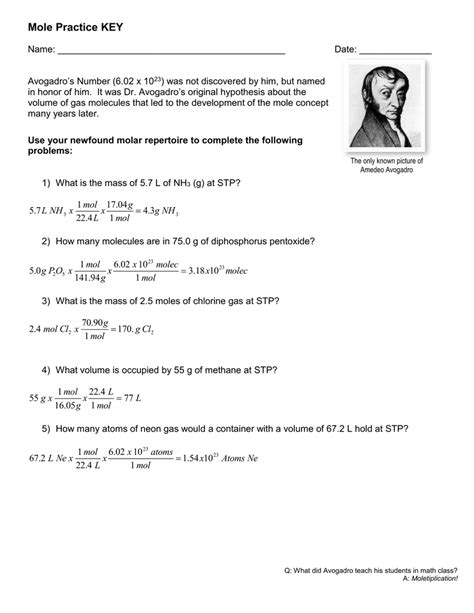 worksheets worksheet mole problems answers opossumsoft
