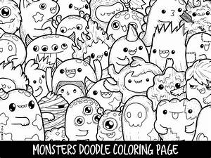 Monsters Doodle Coloring Page Printable CuteKawaii Coloring
