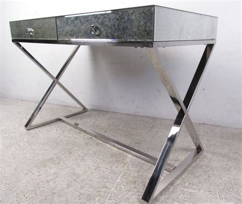 glass writing desk mid century style glass top writing desk for at 1stdibs
