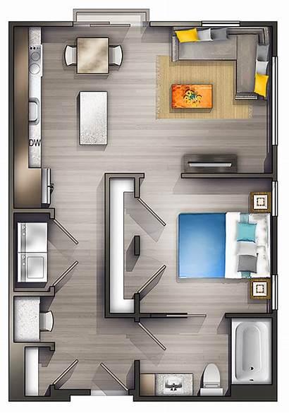 Apartment Studio Layout Interior Plans Bedroom Floor