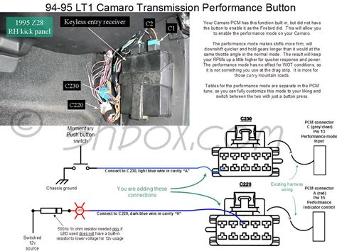 1995 Chevrolet Camaro Wiring Harnes by Performance Transmission Button Fourth Generation