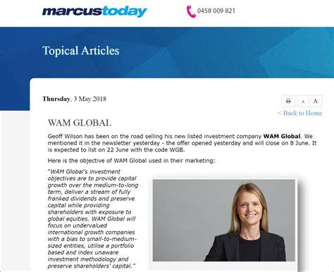 wam global wam global by marcus padley wilson asset management