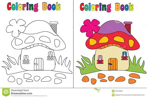 Coloring Book Mushroom House Stock Vector