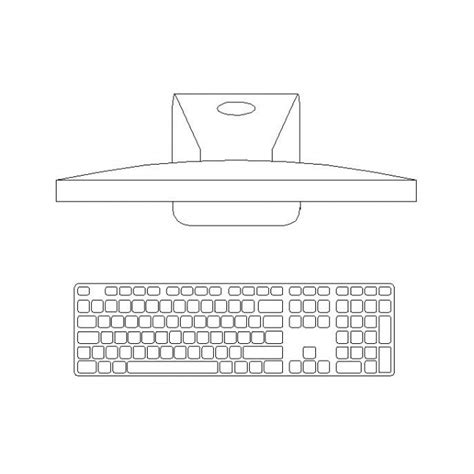 bureau dwg computer monitor and keyboard cad block cadblocksfree