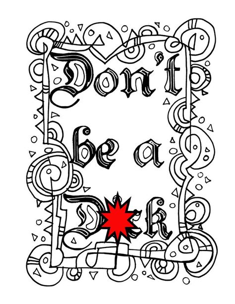 swear word coloring sheet page printable dont dck
