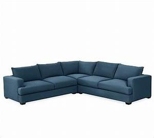 Hampton upholstered 3 piece l shaped sectional brushed for Pottery barn hampton sectional sofa