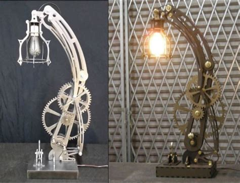 steampunk steel lamp  wood lamp patterns dxf format cnc