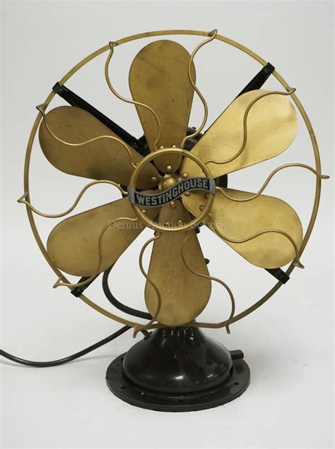 antique westinghouse table fan with brass cage and 6 blades