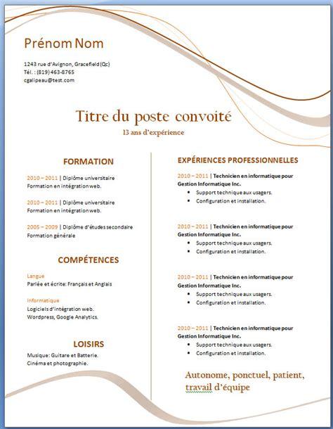 Modele Cv Word Gratuit by Mod 232 Le Word Gratuit De L Exemple De Cv 27 Exemple De Cv
