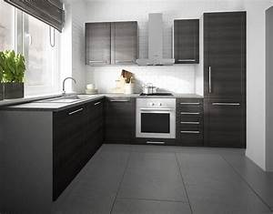 Kuchenzeile l form grau fino schwarz 140x250cm neu for Küchenzeile l form