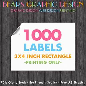 1000 labels 3x4 inch rectangle full color sticker printing With 3x4 labels