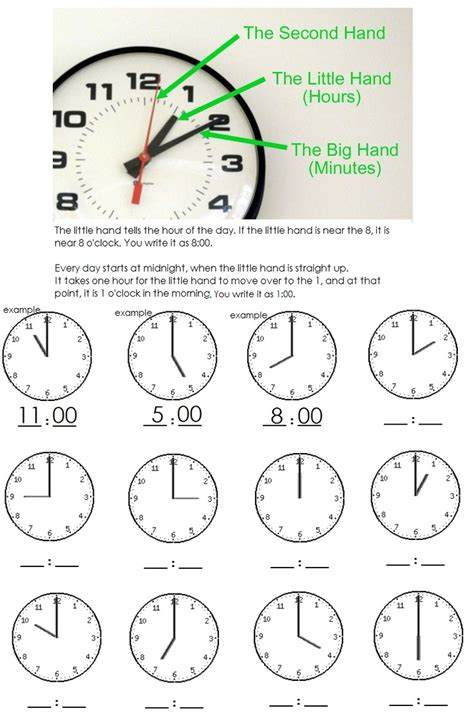 clock worksheet telling time   hour learning  fun