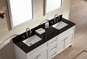 ariel hamlet 73quot double sink vanity set with absolute With white bathroom vanity with black countertop
